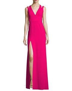 Sleeveless Deep V-Neck Crepe Gown | Hermosaz