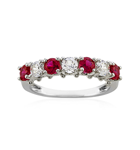 Lab-Created Ruby & Lab-Created White Sapphire Rhodium-Plated Ring | Hermosaz