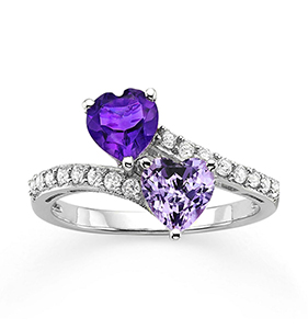 Genuine Amethyst & Lab-Created White Sapphire Double Heart Bypass Ring in Sterling Silver | Hermosaz