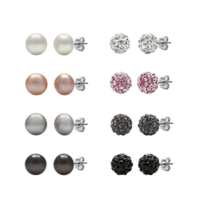 Cultured Freshwater Pearl and Crystal Sterling Silver 8-pr. Stud Earring Set | Hermosaz