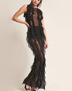 Kikiriki Sheer Mesh Ruffle Maxi Dress| Hermosaz