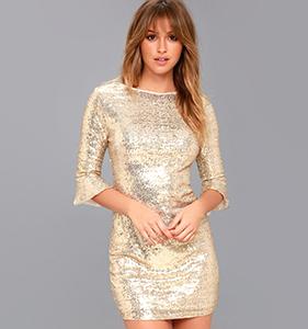 Feel The Light Gold Sequin Bodycon Dress | Hermosaz