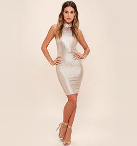 Diamond Heart Gold Bodycon Dress | Hermosaz
