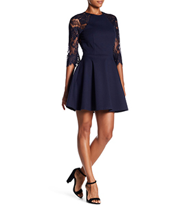 BB Dakota Fit & Flare Lace 3/4 Length Sleeve Dress | Hermosaz