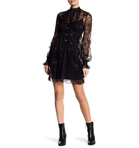 David Naman Laura Pleated Lace Dress | Hermosaz