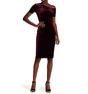 Love...Ady Velvet Asymmetrical Neck Dress | Hermosaz