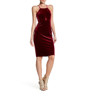 bebe Mesh Cutout Velvet Bodycon Dress | Hermosaz