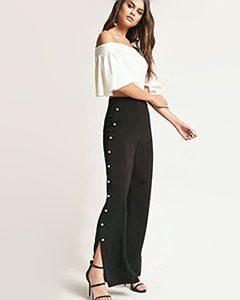 Faux Pearl High-Rise Pants | Hermosaz