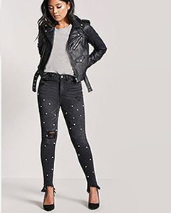 Faux Pearl Step Hem Jeans | Hermosaz