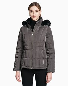 QUILTED FAUX FUR HOODED ZIP JACKET | Hermosaz