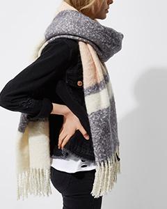 Light Pink Block Stripe Blanket Scarf | Hermosaz