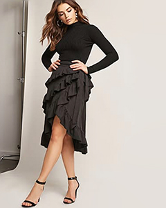 Ruffle High-Low Midi Skirt | Hermosaz