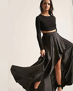Satin High-Low Skirt | Hermosaz