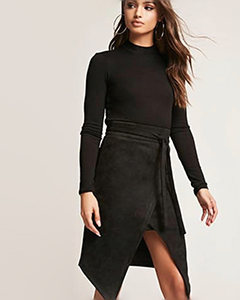 Faux Suede Mock-Wrap Skirt | Hermosaz