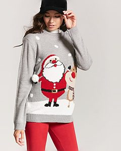 Santa and Reindeer Holiday Sweater | Hermosaz