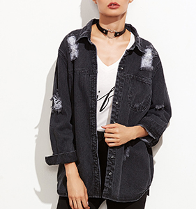 Grey Ripped Hidden Button Front Denim Jacket | Hermosaz
