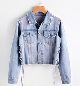 Faded Wash Lace Up Side Denim Jacket | Hermosaz
