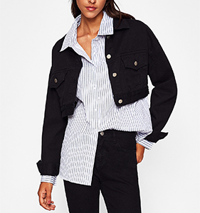 Dual Flap Pocket Front Crop Denim Jacket | Hermosaz
