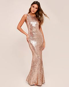 LIGHT THE NIGHT ROSE GOLD SEQUIN BACKLESS MAXI DRESS | Hermosaz