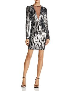 Deep-V Sequin Dress | Hermosaz