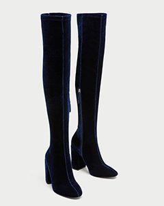 Velvet Over The Knee High Heel Boots | Hermosaz