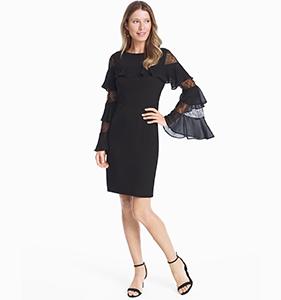 RUFFLE LACE BLACK SHIFT DRESS | Hermosaz