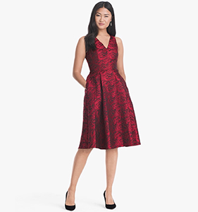 ROSE-PRINT JACQUARD FIT-AND-FLARE DRESS | Hermosaz