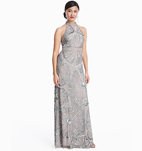 ADRIANNA PAPELL FLORAL BEADED GOWN | Hermosaz