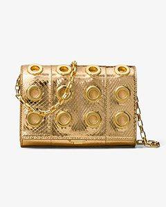 Yasmeen Small Grommeted Metallic Snakeskin Clutch | Hermosaz