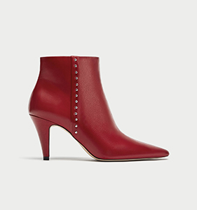 HIGH HEEL LEATHER ANKLE BOOTS WITH STUDS | Hermosaz