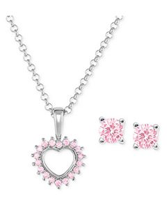 Children's Pink Cubic Zirconia Heart Pendant Necklace and Stud Earrings in Sterling Silver   Hermosaz