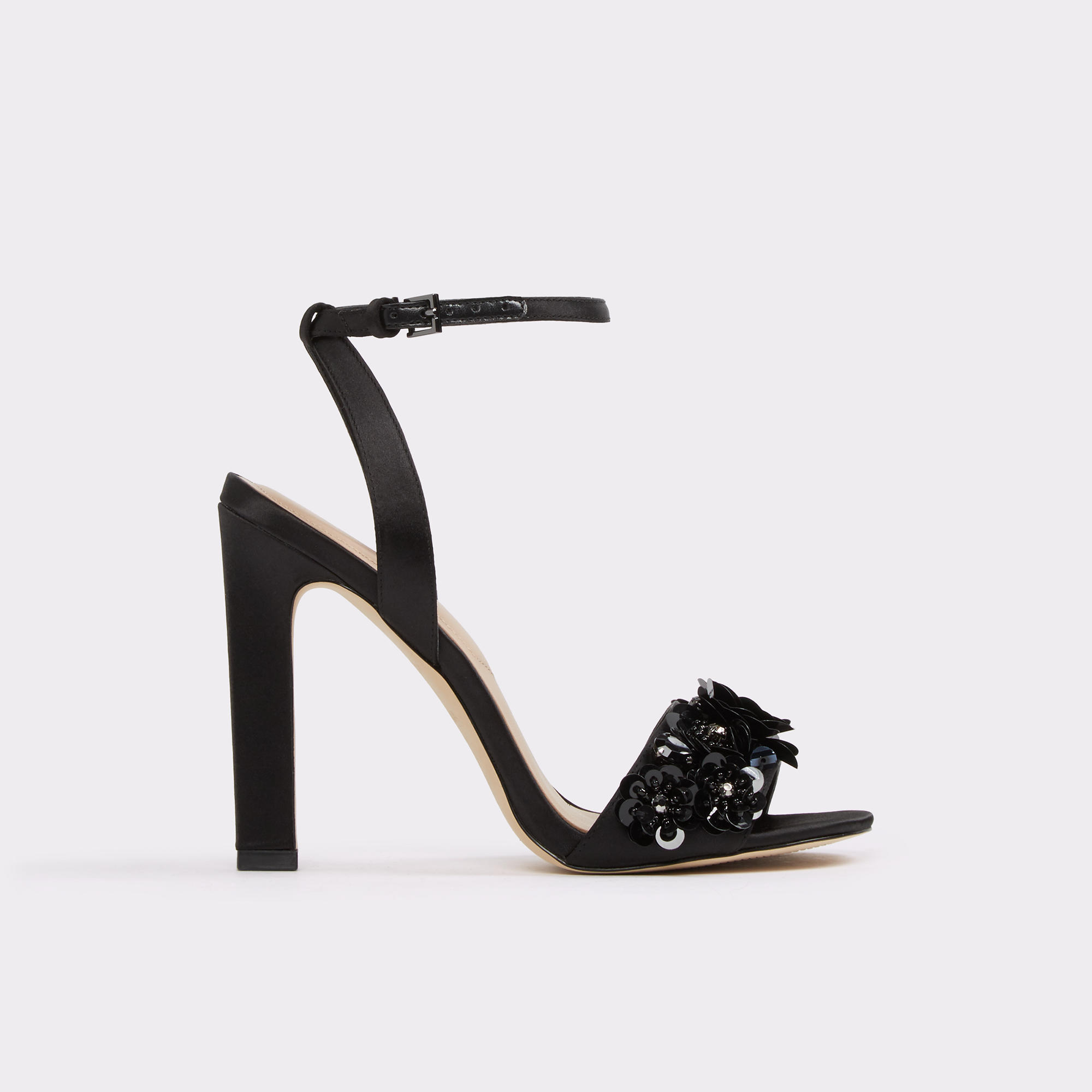 Kilia Black Satin Women's Open-toe Heels | Hermosaz