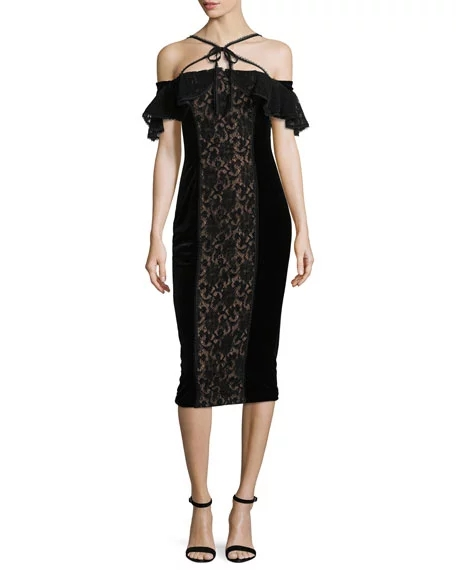 Marchesa Notte Velvet Off-the-Shoulder Midi Cocktail Dress w/ Lace | Hermosaz