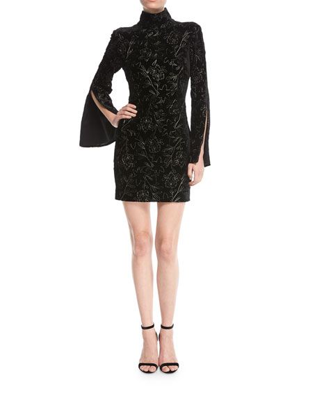 Cinq a Sept Winslow Turtleneck Bell-Sleeve Velvet Dress w/ Floral Metallic | Hermosaz