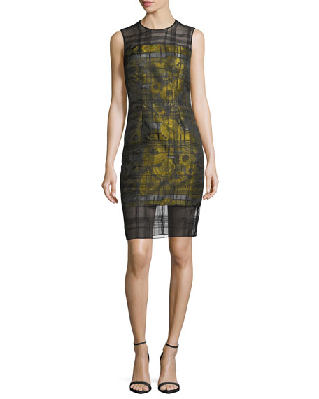 Carmen Marc Valvo Sleeveless Floral-Jacquard Embroidered Organza Cocktail Dress | Hermosaz
