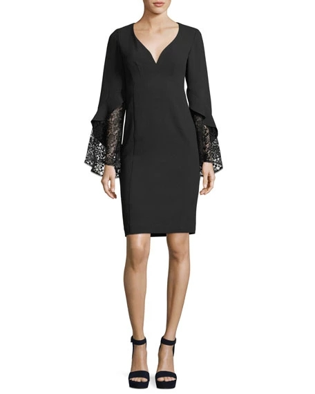 Nanette Lepore Betty V-Neck Lace Sleeve Sheath Cocktail Dress | Hermosaz