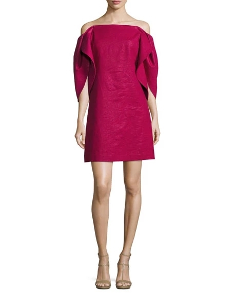 Halstone Heritage Off-the-Shoulder Structured-Sleeve A-Line Cocktail Dress | Hermosaz