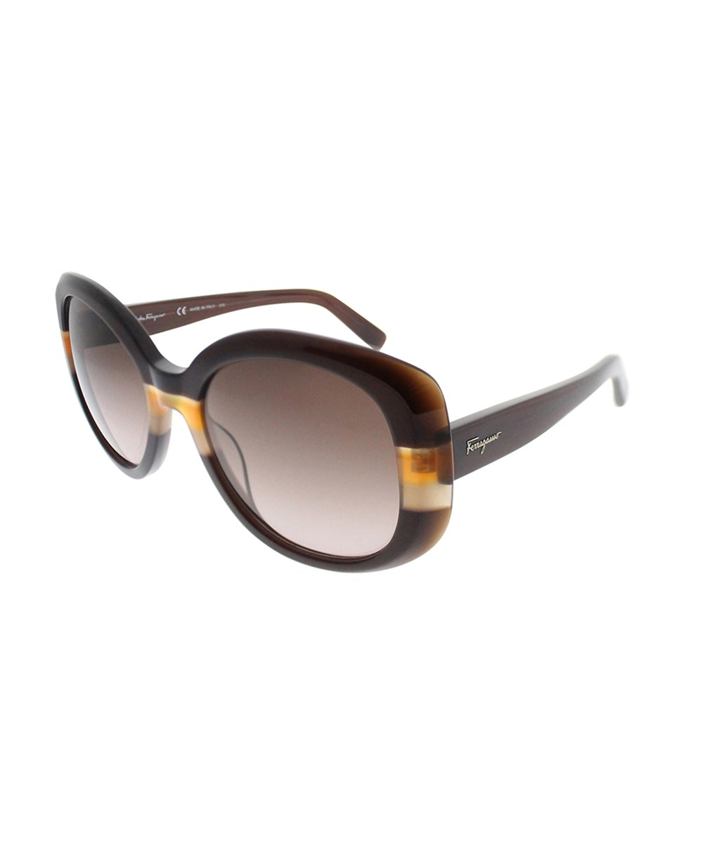 SALVATORE FERRAGAMO Sf 793s 230 Brown Crystal Orange Oval Sunglasses | Hermosaz