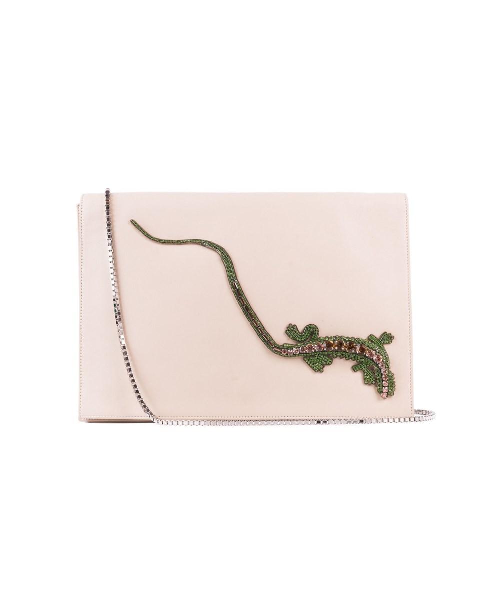 Roberto Cavalli Beige Leather Embellished Front Flap Shoulder Bag | Hermosaz