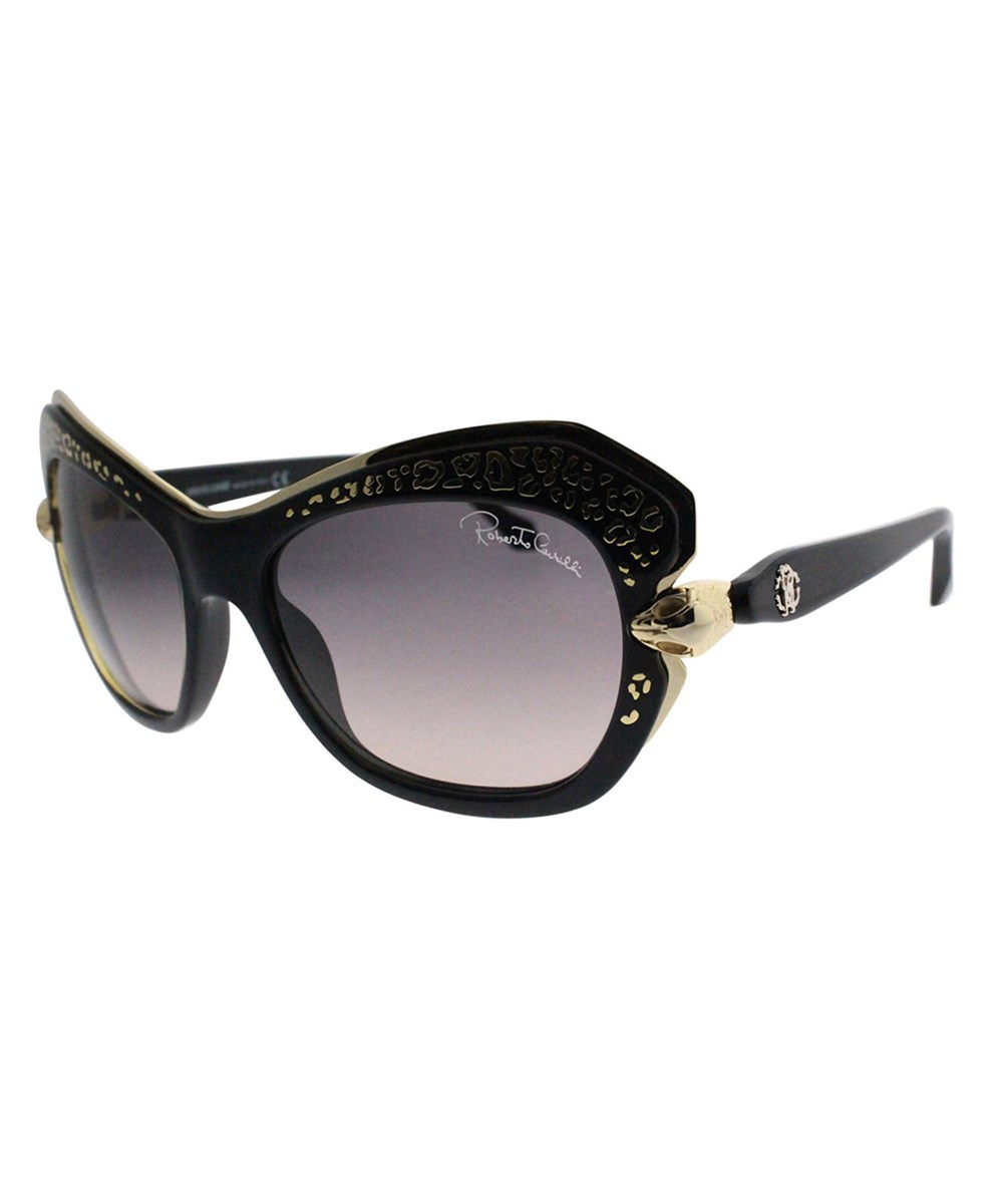 ROBERTO CAVALLI Taygeta Rc 981s 01b Shiny Black Gold Cat-Eye Sunglasses   Hermosaz
