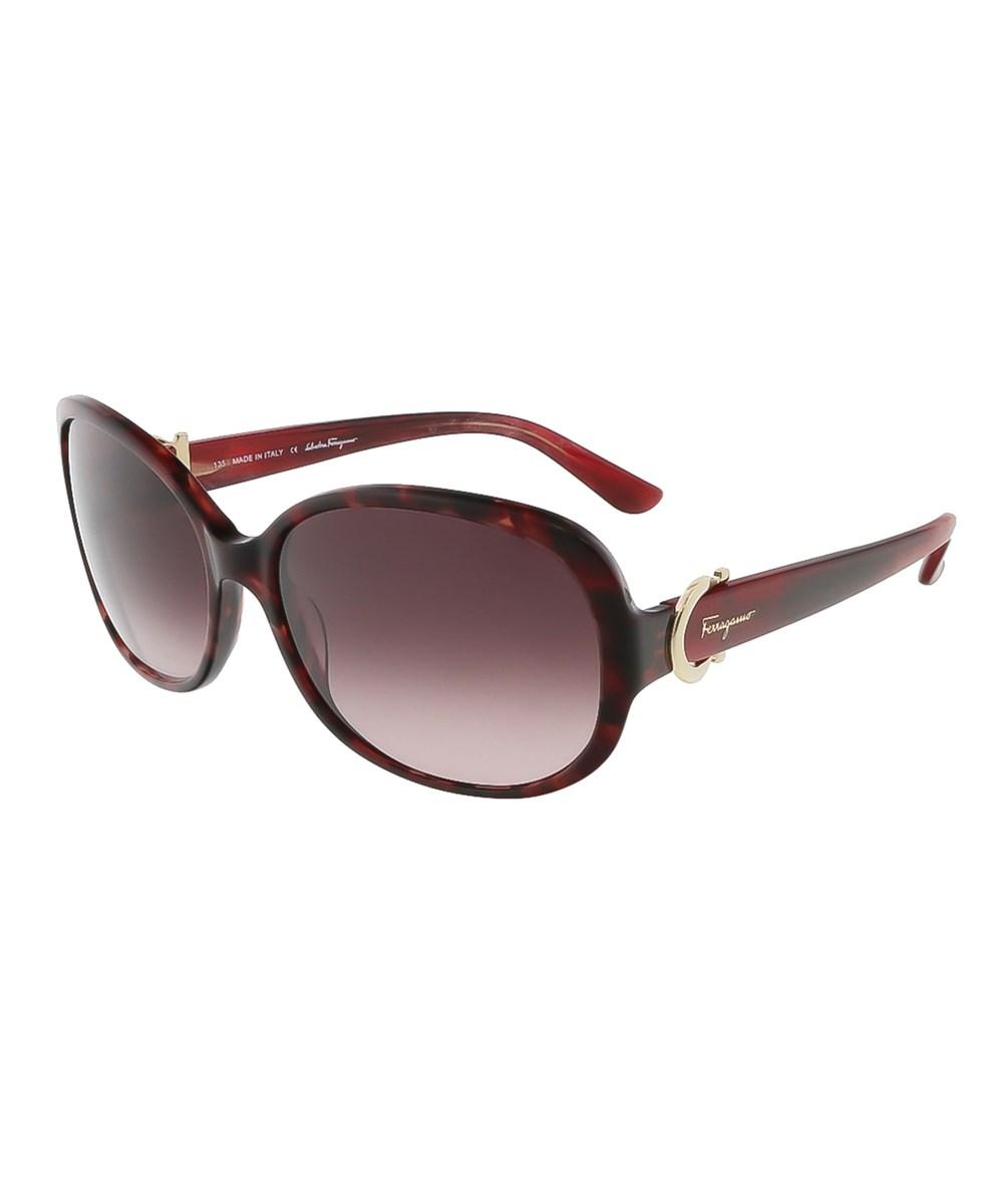 SALVATORE FERRAGAMO Sf613s 609 Red Havana Oval Sunglasses | Hermosaz