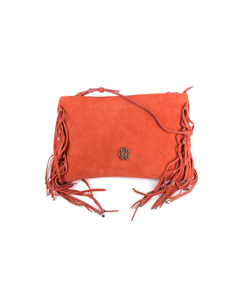 Roberto Cavalli Womens Orange Suede Leather Fringe Edge Handbag   Hermosaz