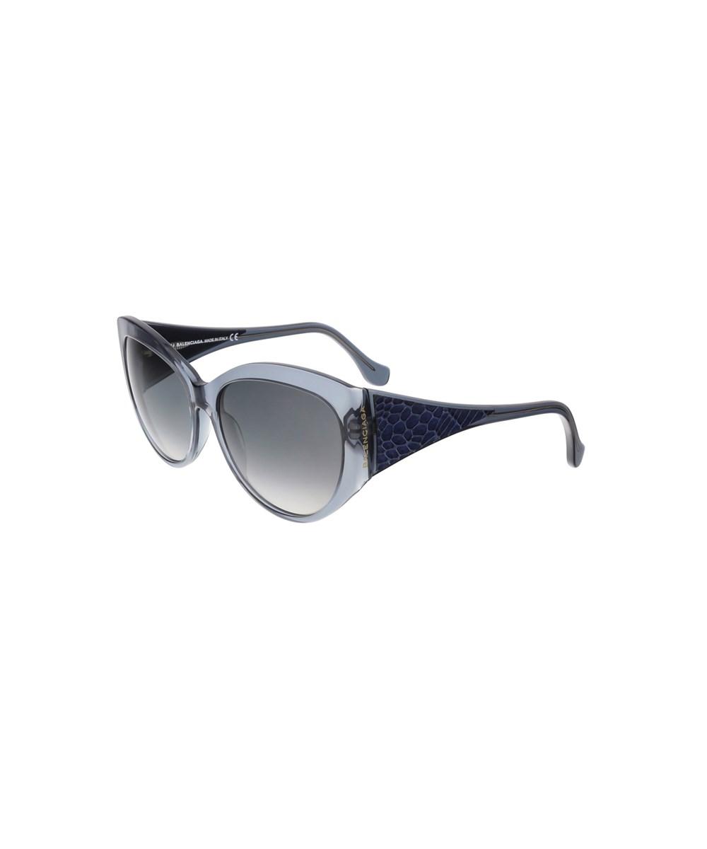 Balenciaga Ba0023 90b Clear Blue Oval Sunglasses | Hermosaz
