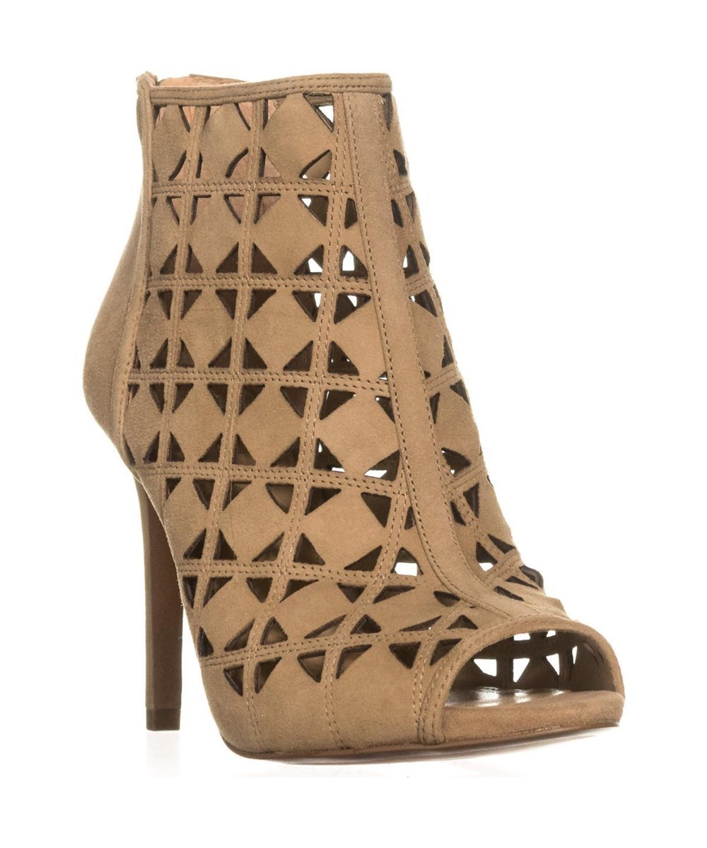 MICHAEL Michael Kors Ivy Bootie Peep Toe Perforated Booties, Dark Khaki | Hermosaz
