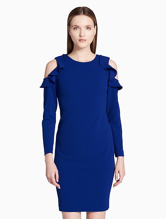 RUFFLE COLD SHOULDER SHEATH DRESS | Hermosaz