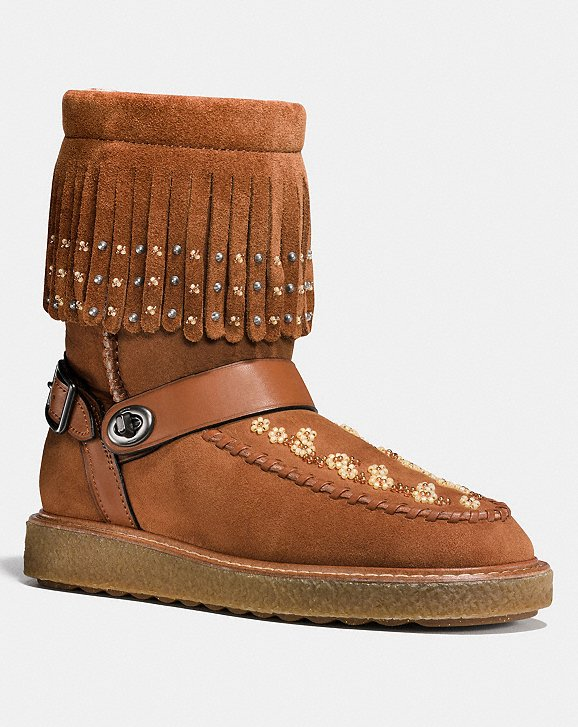 Coach Moccasin Shearing Boot With Beads | Hermosaz