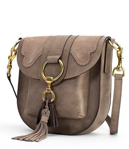 Ilana Tasseled Suede-Appliquéd Saddle Bag | Hermosaz