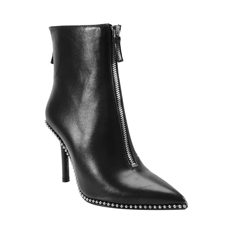 BAHAR Twin Zip Studded Leather Ankle Boots | Hermosaz