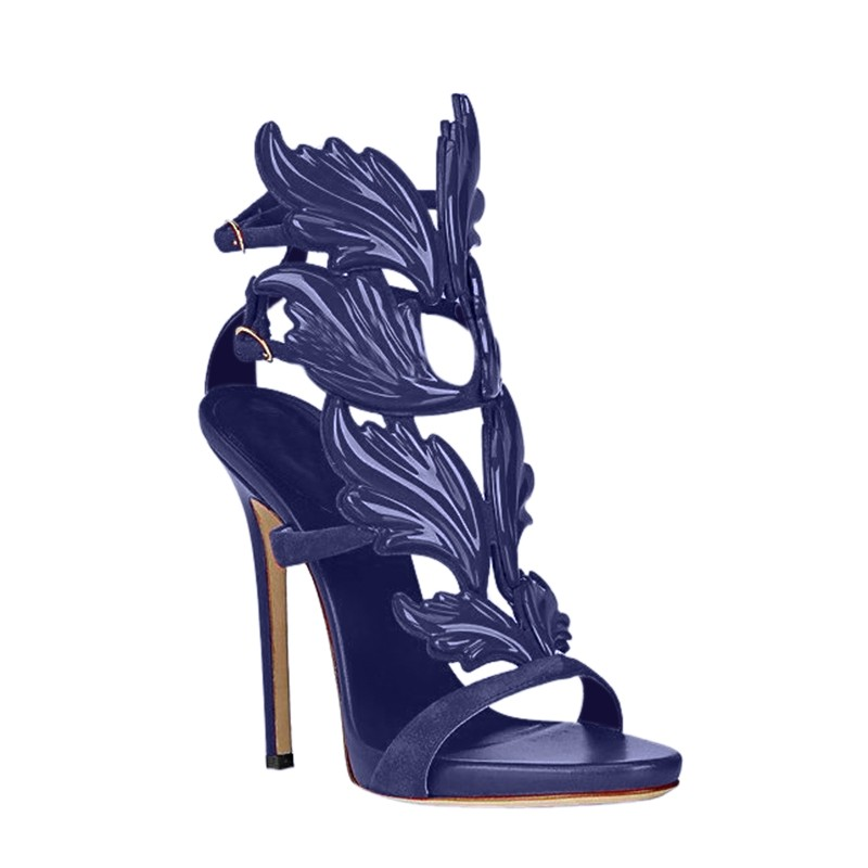 JOHIA Leaf Embellished High Heel Sandals | Hermosaz