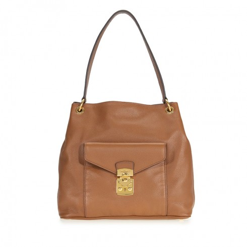 Miu Miu Cinnamon Leather Hobo Bag | Hermosaz